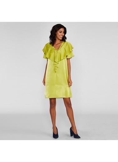 Vekem-Limited Edition V Yaka Volan Detaylı Saten Elbise Yeşil